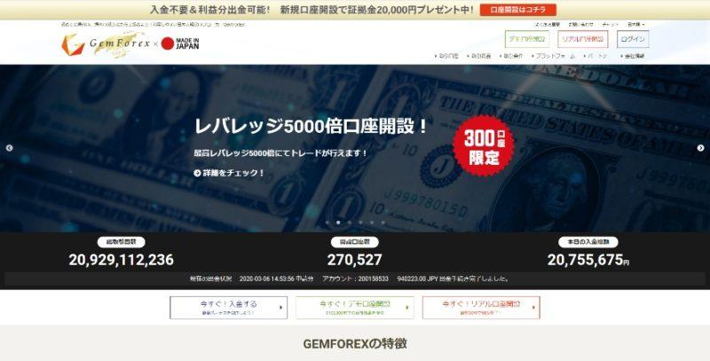 GemForexがレバレッジ5,000倍の口座を開設